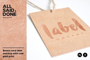 Label mockup with rose gold foil