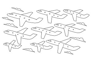 Hand-drawn sketch. lanes fly air flights airline banner. Hand drawn black line clipart