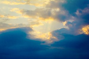 Panorama sunset in the sky