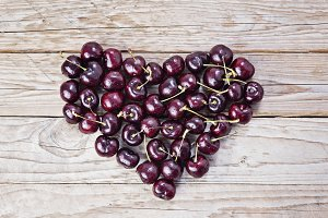 Heart from fresh and ripe cherry