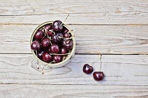 Ripe cherry in metallic