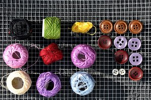 colored threads and buttons