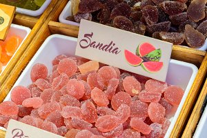 Watermelon candies in the market