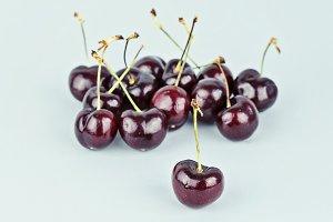 Group of ripe cherries