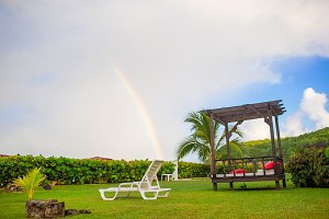 Beach sunbed on exotic tropical resort on Caribbean