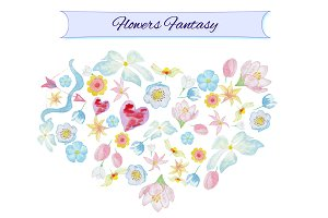 Watercolor flowers fantasy