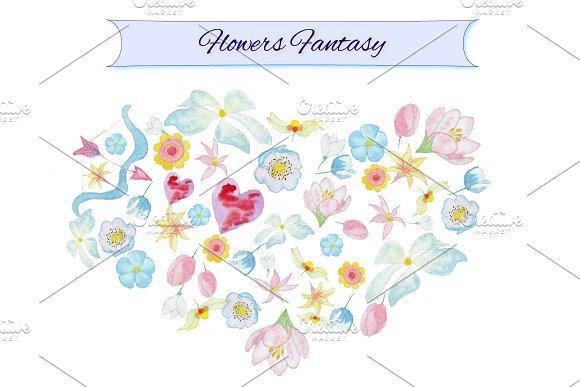 Watercolor Flowers Fantasy