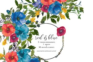 Watercolor Red & Blue Floral Set