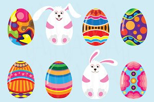 Cute Bunny with Colorful Easter Egg