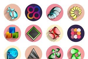 Flat circle designs set