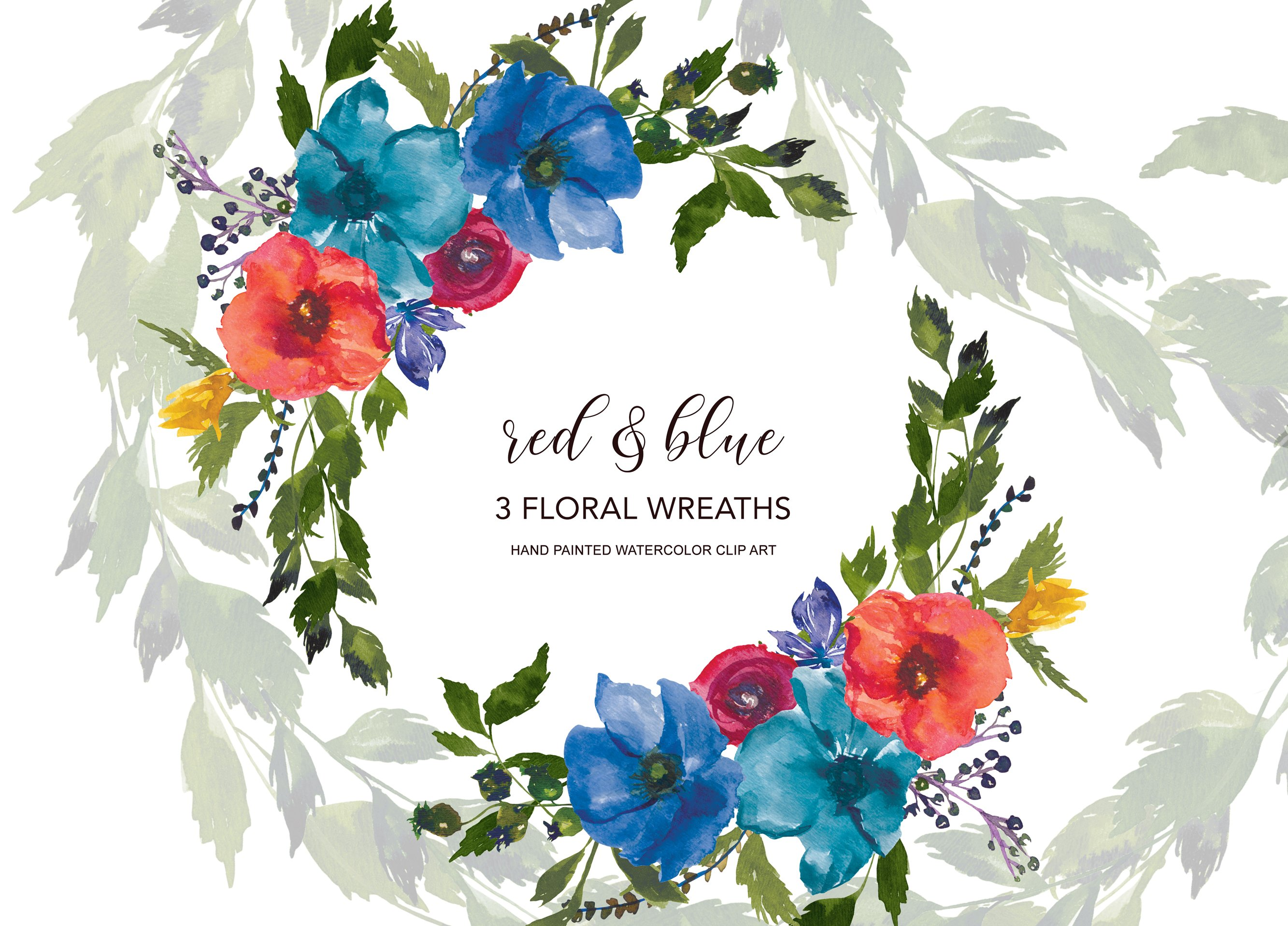Watercolor red blue flowers wreath illustrations creative market izmirmasajfo