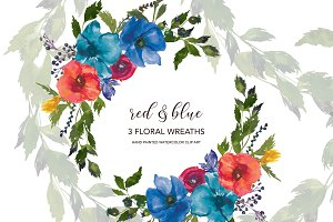 Watercolor Red & Blue Flowers Wreath