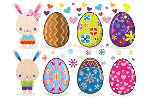 Colorful Easter Eggs and Cute Bunny