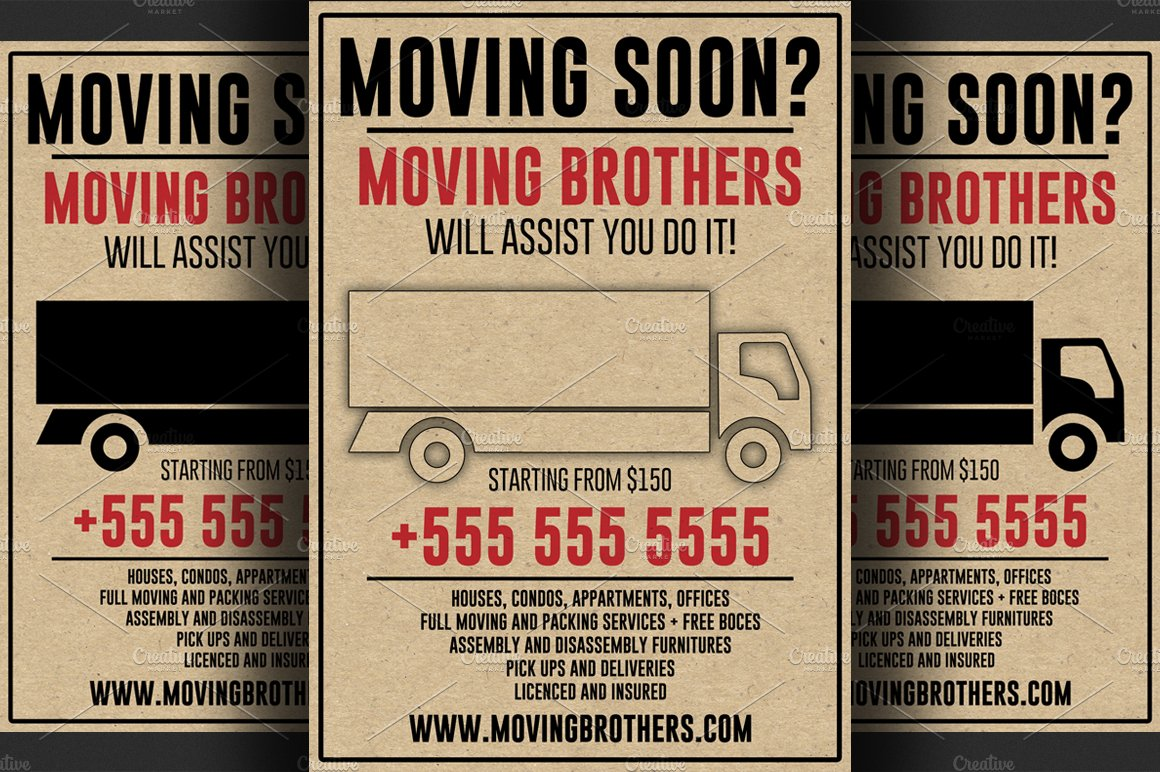 moving company flyer template flyer templates creative market