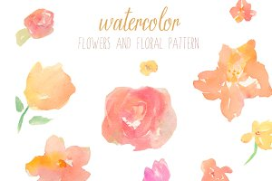 Abstract Floral Pattern and Flowers