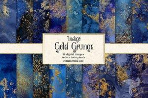 Indigo Gold Grunge Textures
