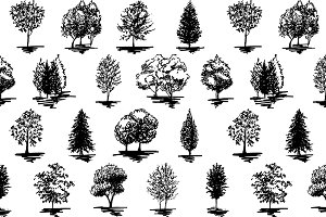 Tree vector sketch seamless pattern