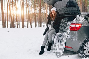 woman car winter