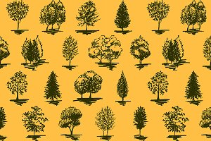 Tree sketch vector seamless pattern