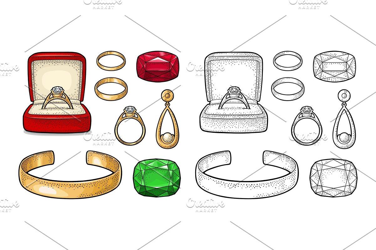 Set jewelry. Vintage color vector engraving illustration