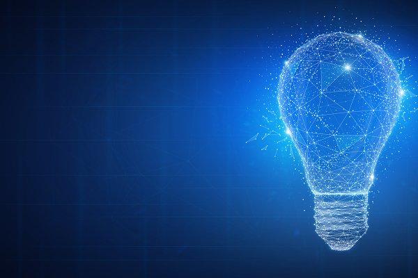 Polygon idea light bulb on blockcha…
