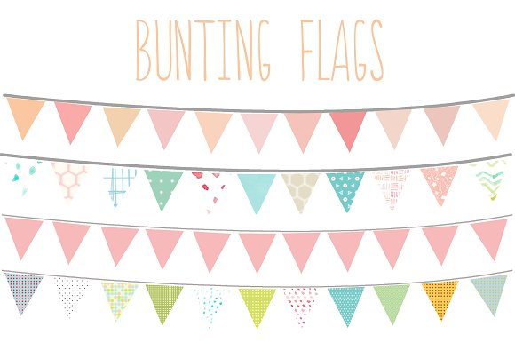 Clip Art Bunting Clipart bunting flags clip art illustrations on creative market illustrations