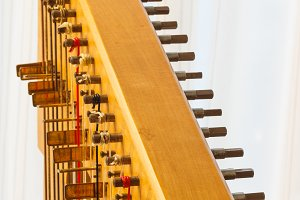 Celtic harp close-up string adjustment