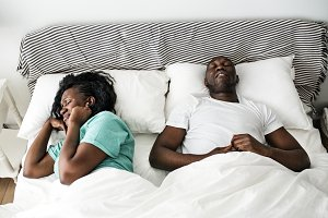 Black couple with snoring problem