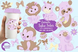 Jungle animlas in lilac AMB-1212