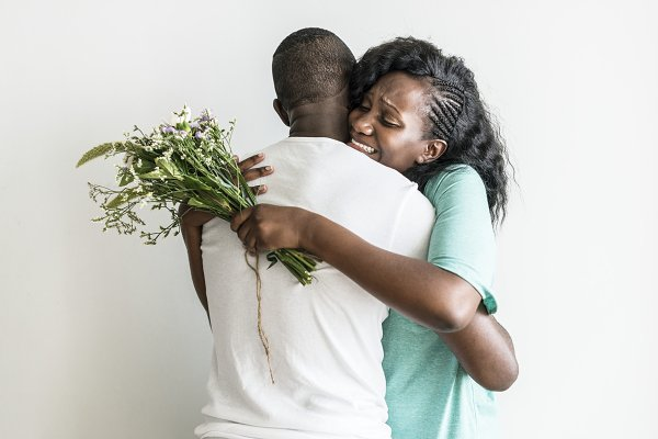 Wife receives a bouquet of flowers