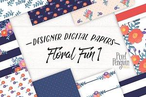 Floral Fun Digital Paper Patterns