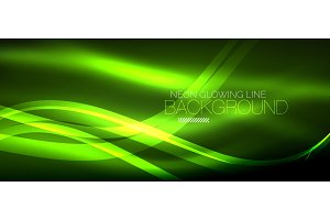 Neon green elegant smooth wave lines digital abstract background