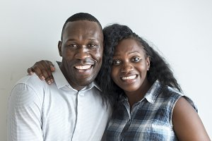 A cheerful black couple portrait