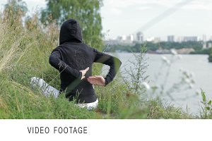 Yoga exercises outdoors.