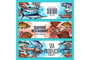 Vector seafood banners of sketch fresh fish
