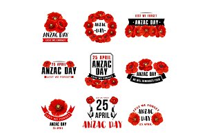 Anzac Day 25 April red poppy vector icons