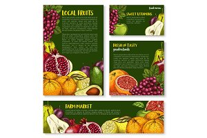 Vector sketch fruit store banners of farm fruits