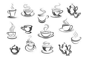 Cafe cafeteria coffee mugs, tea cups vector icons
