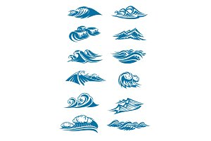 Vector waves icons of ocen water wave blue splash