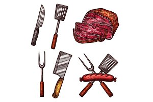 Grill meat sausages cutlery sketch vector icons