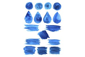 Blue watercolor blob stains shapes vector icons
