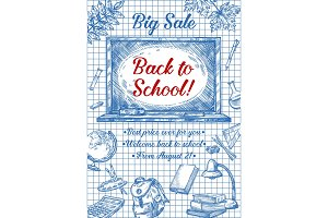 Back to School vector poster of sketch stationery