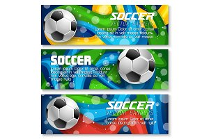 Vector football cup soccer team background banners