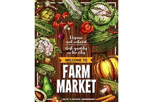 Vector sketch vegetables farm market poster