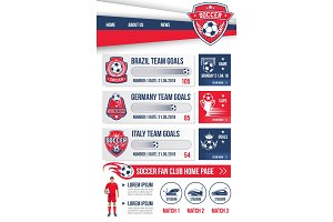 Vector web page football soccer design template