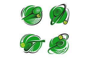 Tennis sport club ball and racket vector icons