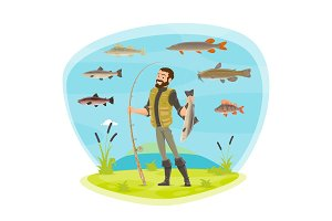 Vector fisherman man fishing and fish catch