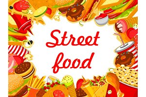 Vector street food fastfood snacks poster menu
