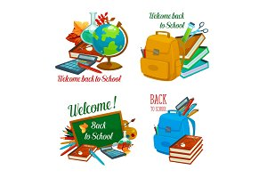 Back to School vector study stationery icons