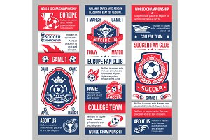 Vector banners for football soccer championship
